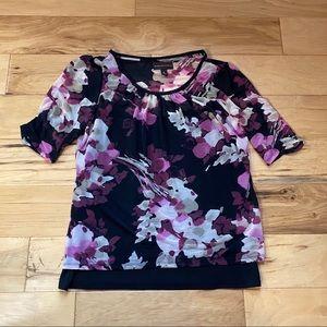 Dana Buchman Floral Blouse Medium